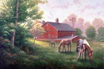 Country Road With HorsesBarn mural