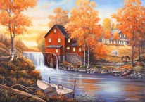 Autumn Sunset At The Old Mill mural