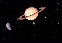Saturn  3 Moons mural