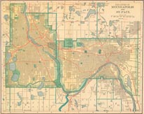Vintage Minneapolis St Paul Map mural