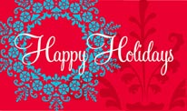 Happy Holidays - Red & Blue mural