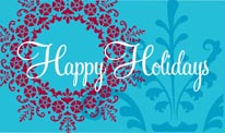 Happy Holidays - Turquoise & Red mural