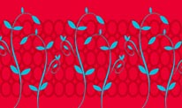 Red & Blue Sprouts mural