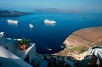Santorini Harbor Greece mural