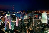 Midtown Manhattan Skyscrapers At Night mural