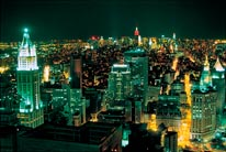 Aerial View Of Lower Manhattan At Night mural
