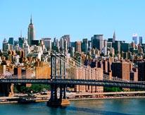 NYC Skyline with Manhattan Bridge mural