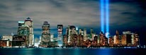 Lower Manhattan With 9/11 Towers Of Light Vinyl Wall Decal mural