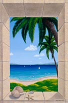 Hawaiian Fantasy With Shells mural