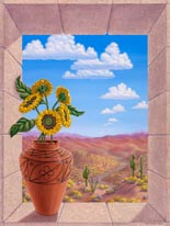 Sunflowers In Zia Pot mural