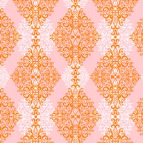 Diamond Damask - Orange Pink mural