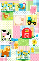Farm Friends Patchwork mural