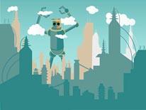 Robot Attacking City mural