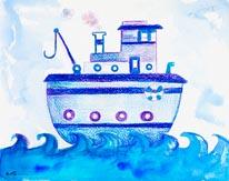 Blue Tugboat mural