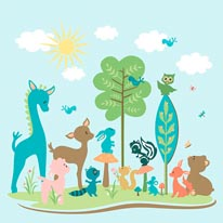 All Woodland Tails mural
