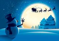 Snowman & Santa's Sleigh mural