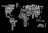 World Map Wordcloud Vinyl Wall Decal mural
