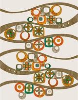 Folk Pattern - Wave mural