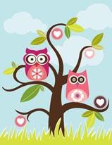 Love Birds in Tree mural
