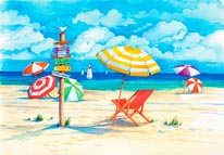 Beach Signs-Umbrellas mural