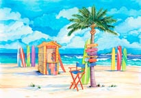 Beach Signs-Surf Shack mural