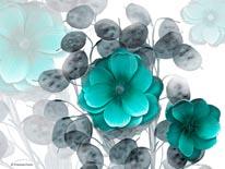 Eastern Floral Blue Hue mural