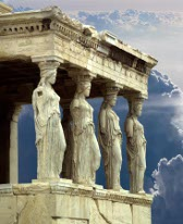 Porch of the Caryatids, Parthenon, Athens, Greece mural